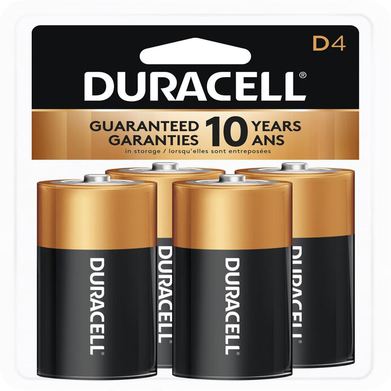 Piles Duracell coppertop Alcalines D - 4 unités