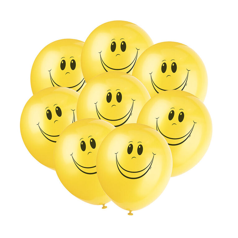 "Happy Face Yellow 12"" Latex Balloons 8 Pieces"