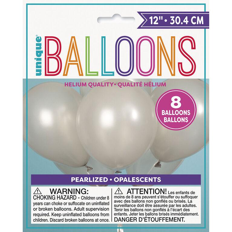8 Ballons Nacres 12 Po - Argent