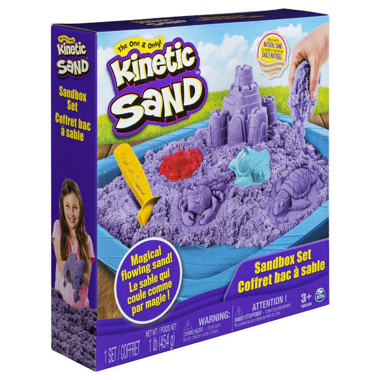 Kinetic Sand, Sandbox Playset with 1lb of Purple Kinetic Sand and 3 Molds