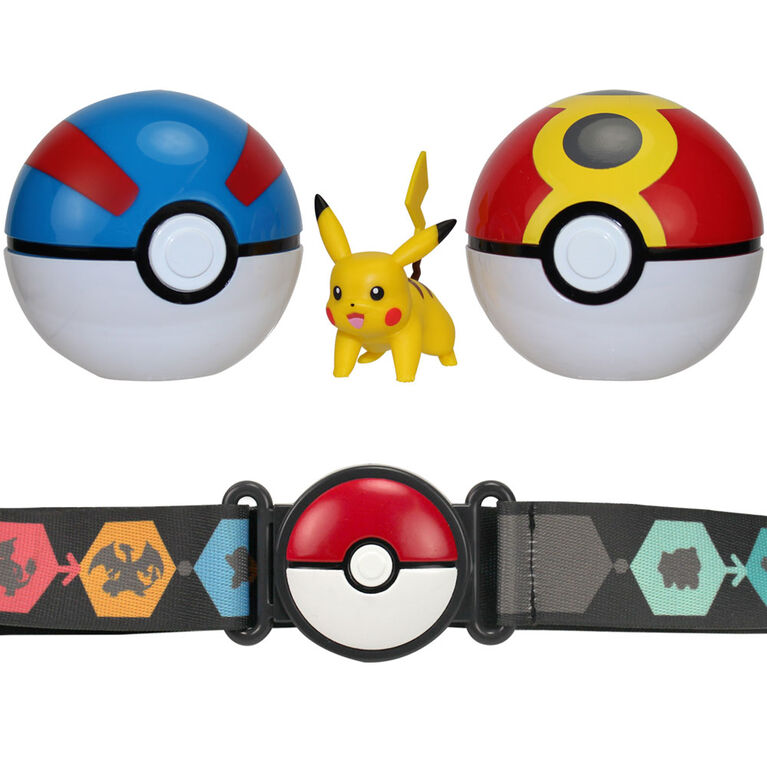 Clip 'N' Go Poké Ball Belt Set - 2 Inch Pikachu #1, Great Ball, Repeat Ball - English Edition