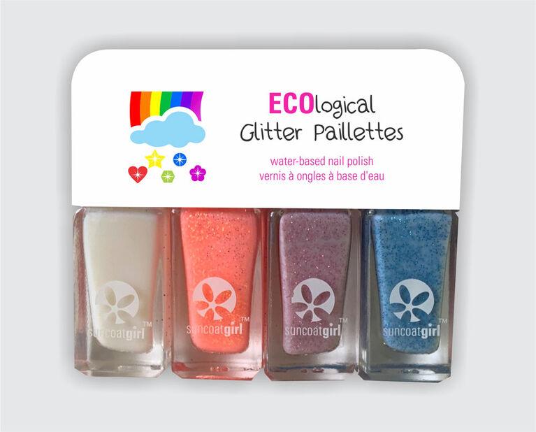 Ecological Glitter Nail Polish Quartett