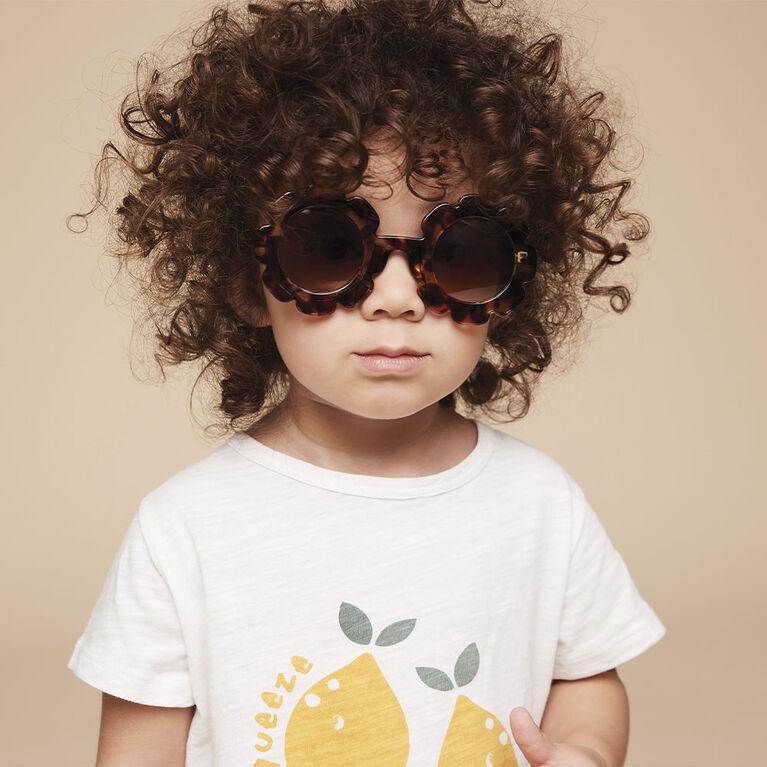 lunettes de soleil en forme de fleur -  brun