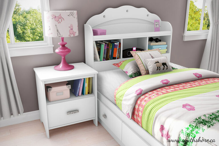 Tiara Bookcase Headboard with Storage- Pure White