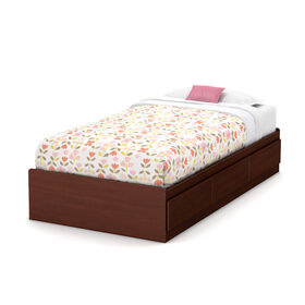 Summer Breeze Mates Platform Storage Bed with 3 Drawers- Royal Cherry