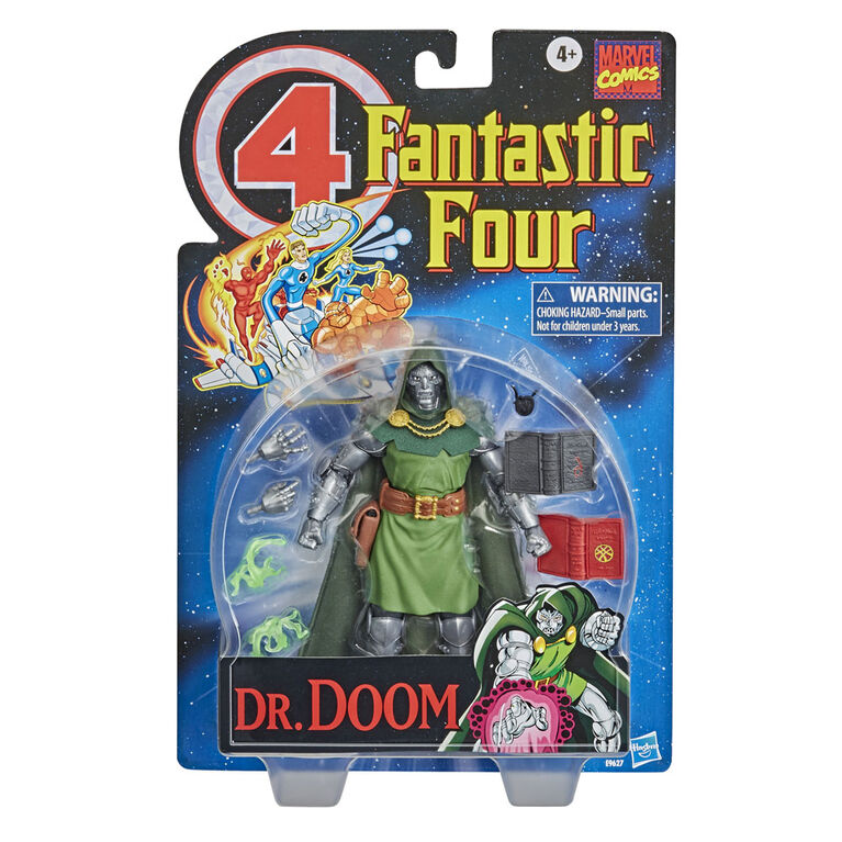 Marvel Vintage Dr. Doom Fantastic 4 Action Figure Toy with 10 Accessories