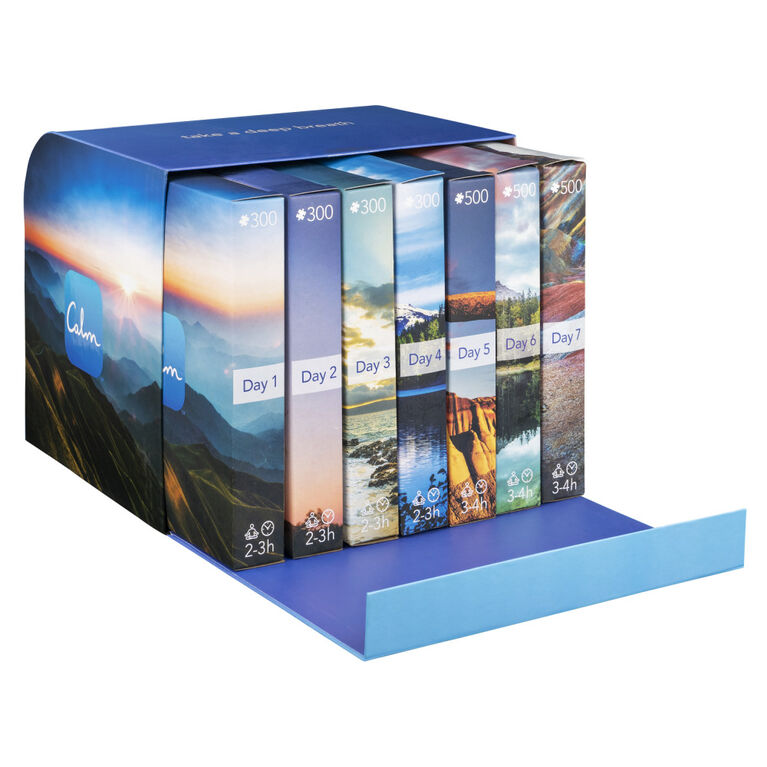 Calm Mindful Puzzle Collection 7-Pack for Relaxation, Stress Relief, and Mood Elevation