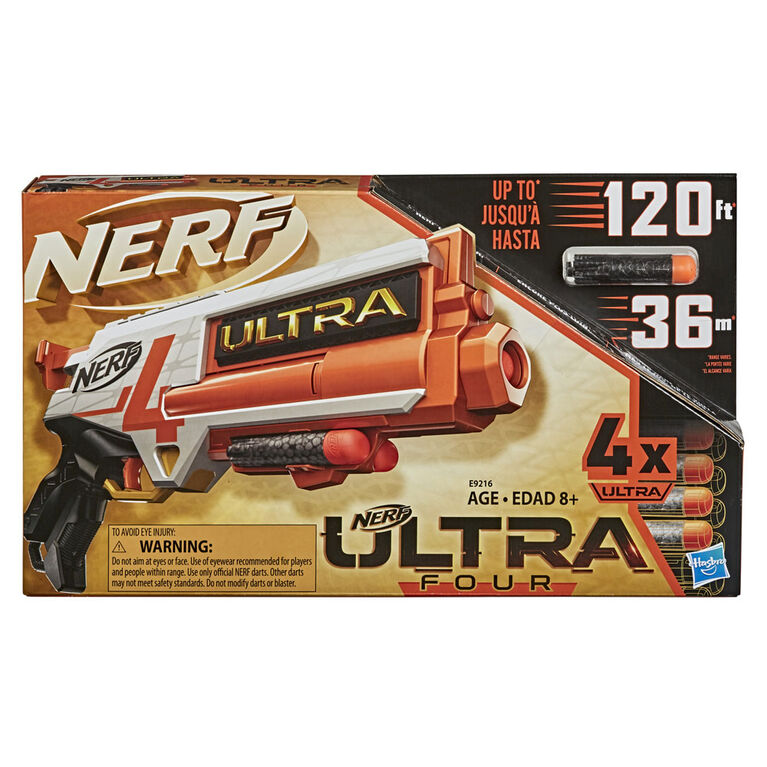 Nerf Ultra Four Dart Blaster - 4 Nerf Ultra Darts, Single-Shot Blasting, 2-Dart Storage - Compatible Only with Nerf Ultra Darts