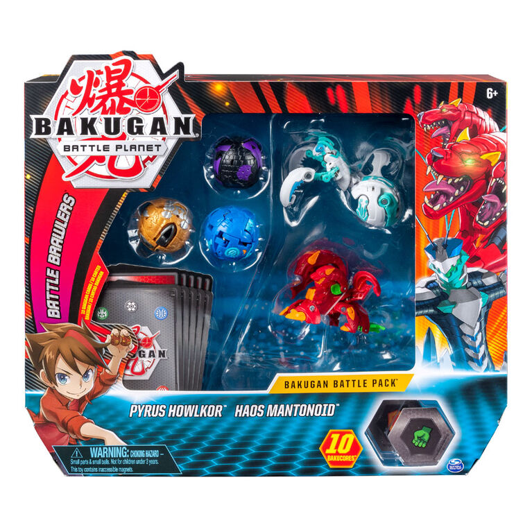 Bakugan, Battle Pack 5-Pack, Pyrus Howlkor and Haos Mantonoid