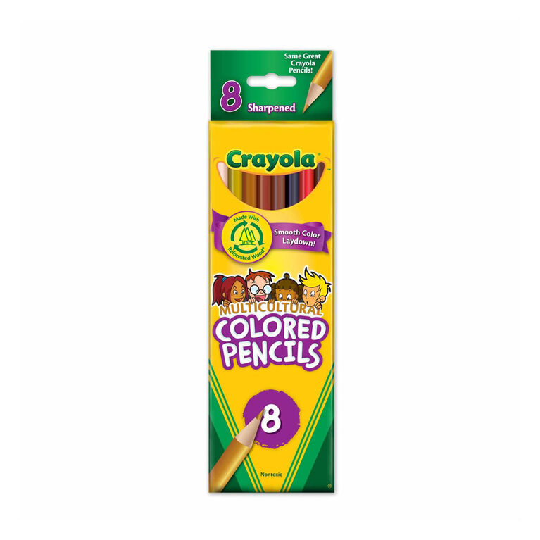 Crayola Multicultural Coloured Pencils, 8 Count - English Edition