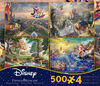 Four 500 Piece Thomas Kinkade Disney Puzzles - Aladdin, Beauty and the Beast, Winnie the Pooh and The Little Mermaid