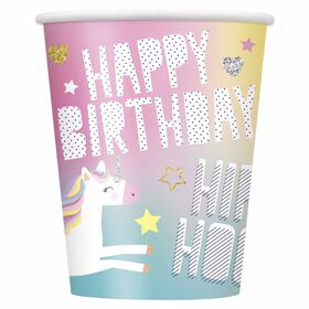 Unicorn 9oz Paper Cups, 8 pieces - English Edition