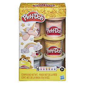 Play-Doh Collection de pâte métallique, 6pots de 84 g de pâte à modeler atoxique or, argent et rose - Notre exclusivité