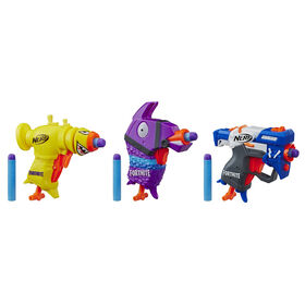 Nerf Fortnite 3 Dart-Firing Micro Trio -- Includes 3 Blasters and 6 Official Nerf Elite Darts