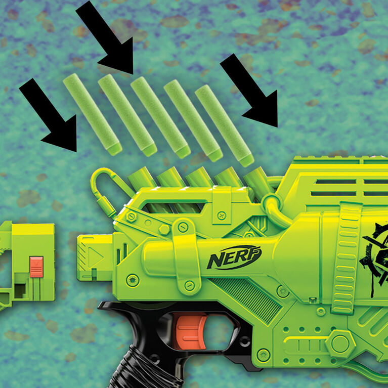 Nerf Zombie Strike Ghoulgrinder Blaster - Rotating 10-Dart Wheel, 10 Official Nerf Zombie Strike Elite Darts