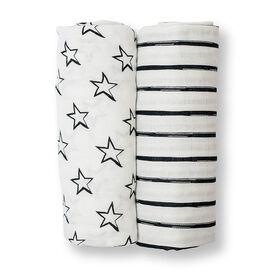 Lulujo 2 pack Bamboo Swaddling Blanket - Stars & Stripes - R Exclusive