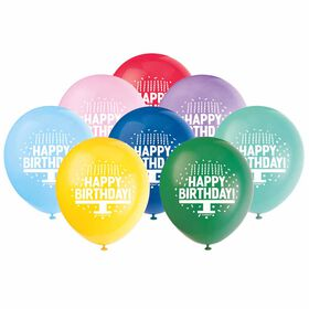 """Primary Bday Cake 12"""" Latex Balloons, 8 Pieces - English Edition"""
