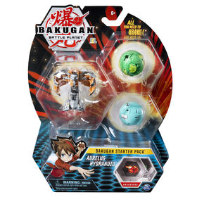 Bakugan Starter Pack 3-Pack, Aurelus Hydranoid, Collectible Action Figures