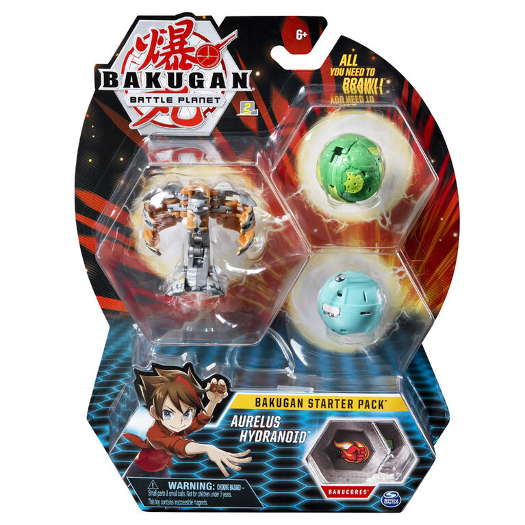 Bakugan Starter Pack 3-Pack, Aurelus Hydranoid, Collectible Action Figures