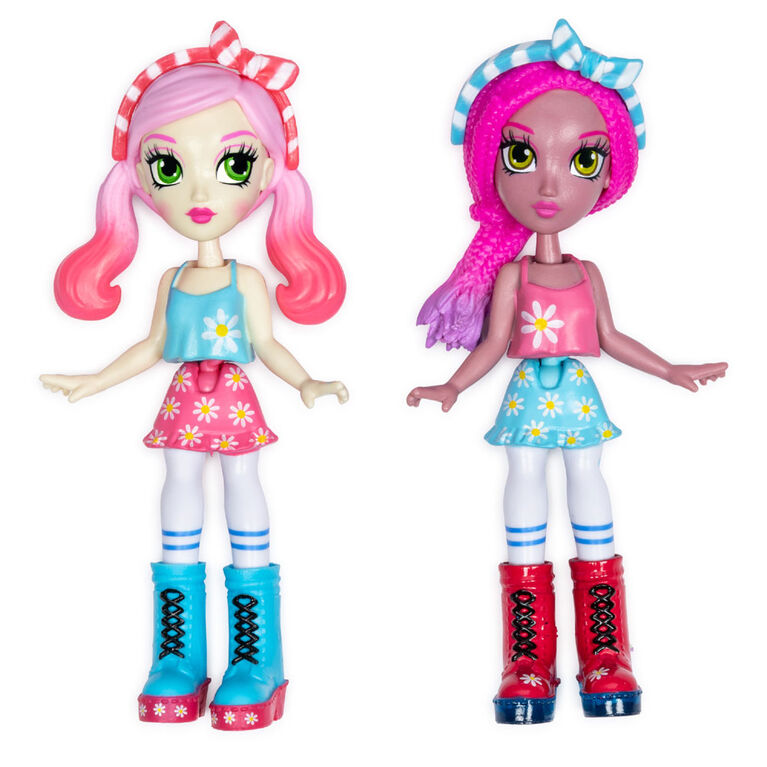 Off The Hook Style BFFs, Vivian & Jenni (Summer Vacay), 4-inch Small Dolls with Mix and Match Fashions and Accessories - R Exclusive
