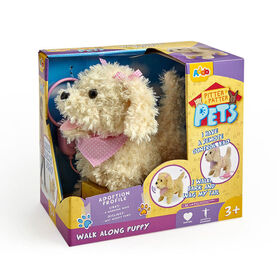 Pitter Patter Pets Walk Along Puppy - Cream and Pink Bow