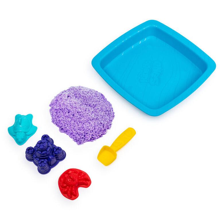 Kinetic Sand, coffret Bac à sable avec 454 g (1 lb) de sable Kinetic Sand violet et 3 moules