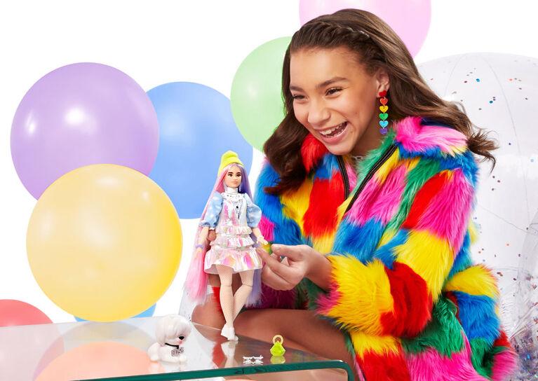 Barbie - Poupée Extra au corps pailleté avec chiot de compagnie