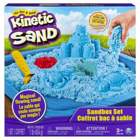 Kinetic Sand, coffret Bac à sable avec 454 g (1 lb) de sable Kinetic Sand bleu