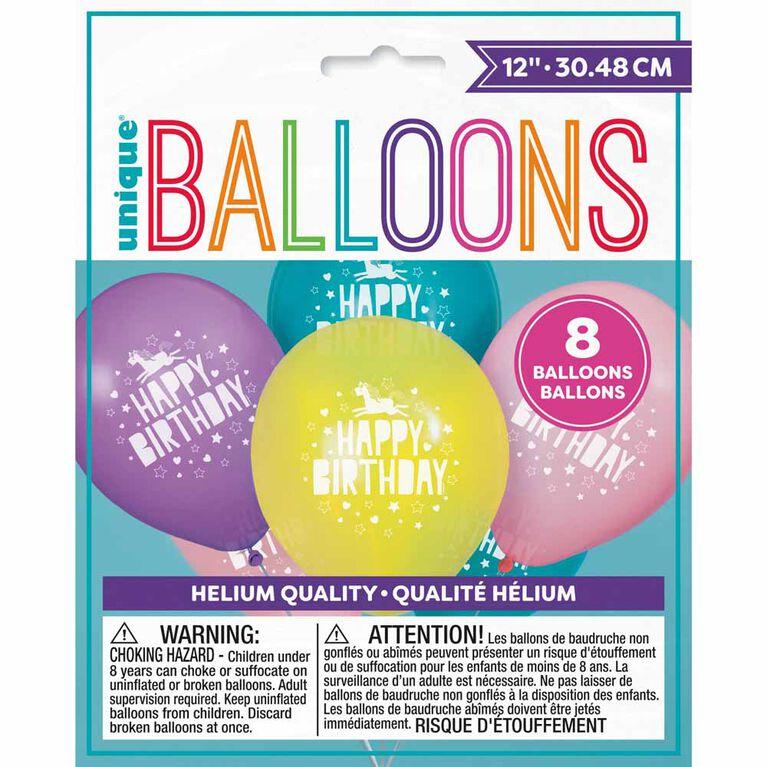 "Unicorn 12"" Ballons, 8un - Édition anglaise"