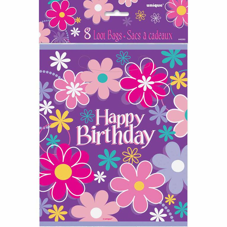Birthday Blossoms Loot Bags, 8 pieces - English Edition