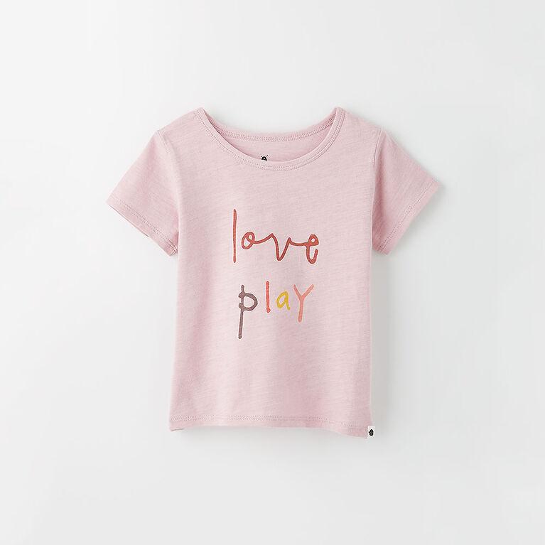 5-6 ans t-shirt imprimé à manches courtes - violet pâle