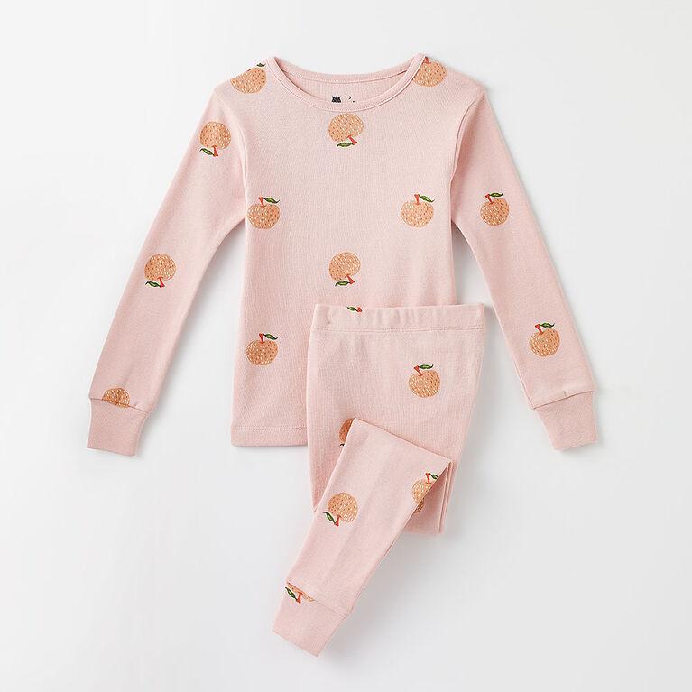 6 ans pyjama deux pièces à manches longues - imprimé rose pâle