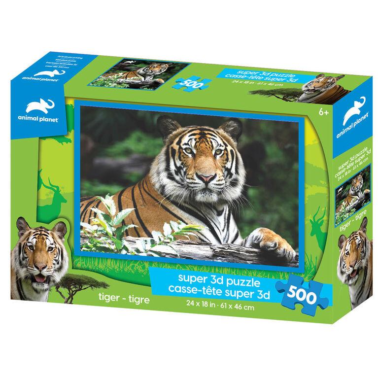 Planète Animale - Tigre - 500 pc Casse-tête Super 3D - Notre exclusivité