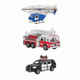 Driven, Micro Rescue Fleet (4pc), Small Toy Emergency Vehicle Set