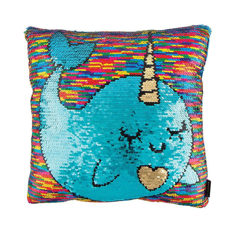 Magic Sequin Reveal Pillow - Narwhal