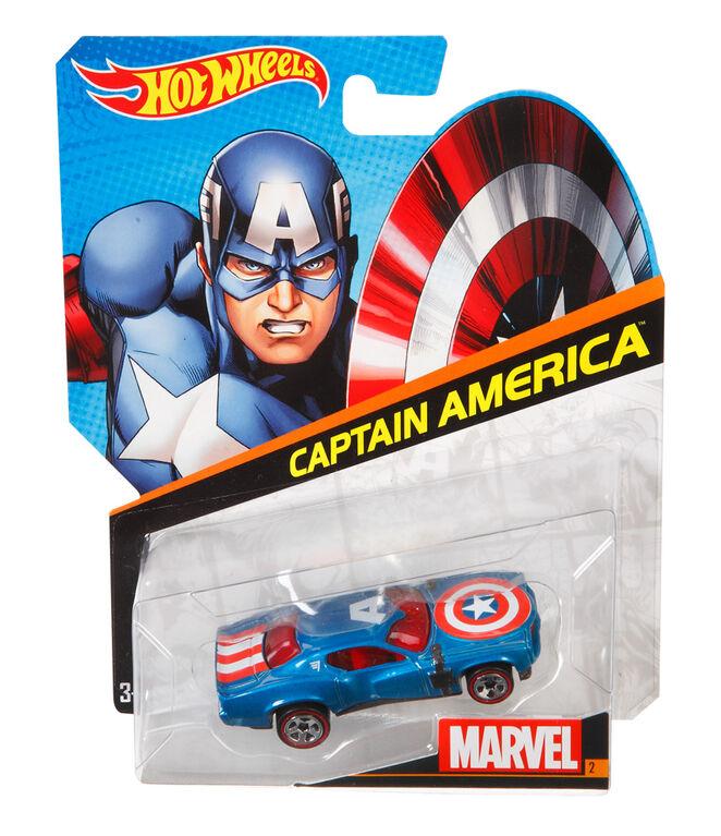 Hot Wheels Marvel Character Car - Captain America