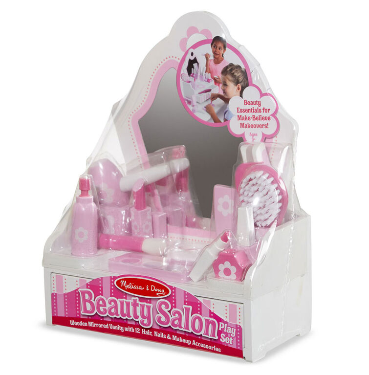 Melissa & Doug Wooden Beauty Salon Play Set With Vanity and Accessories - styles may vary