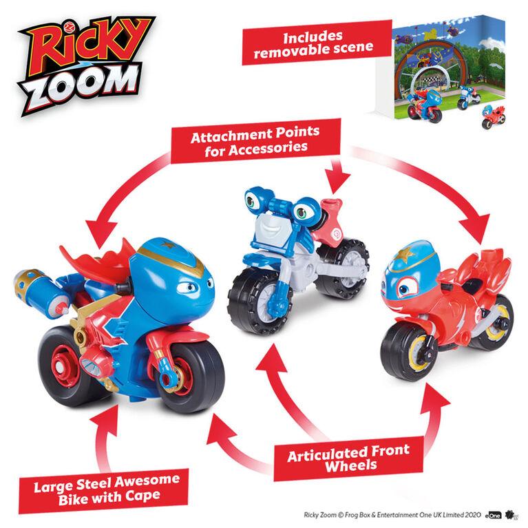 Ricky Zoom: Aventure Steel Awesome Emballage Groupé -- 3 po et 4po figurines de moto - les Roues mobiles, se tient débout, Jouet Moto - Notre exclusivité