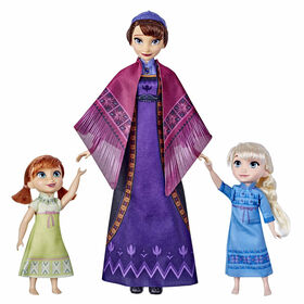 Disney's Frozen 2 Queen Iduna Lullaby Set with Elsa and Anna Dolls, Singing Queen Iduna - French Edition