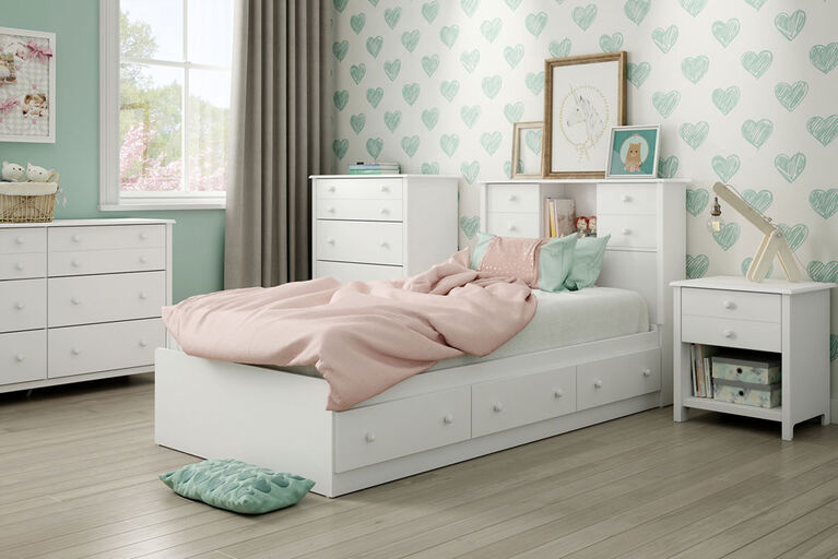 Little Smileys Mates Bed with 3 Drawers- Pure White