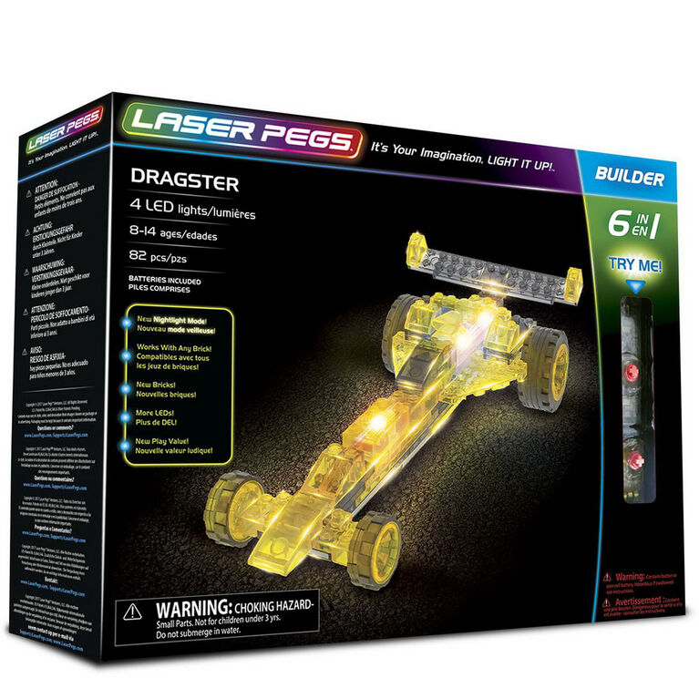 Laser Pegs Dragster 6-In-1  Building Set