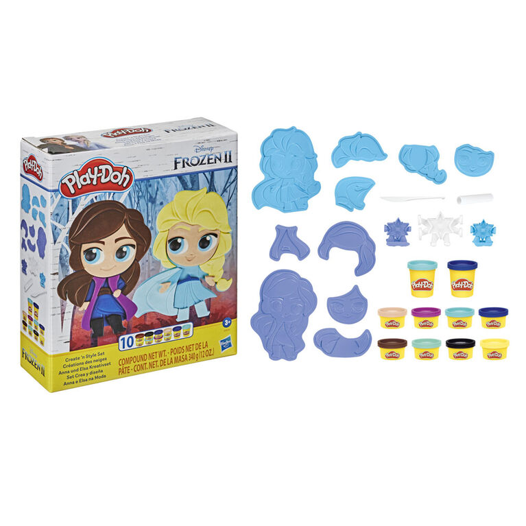 Play-Doh Featuring Disney Frozen 2 Create 'n Style Set Anna and Elsa Toy with 10 Play-Doh Cans, Non-Toxic