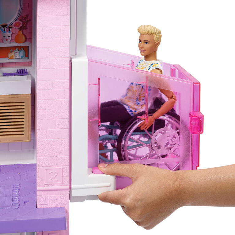 Nouvelle - Barbie - Maison de poupée (109 cm), piscine, glissade, lumières, sons
