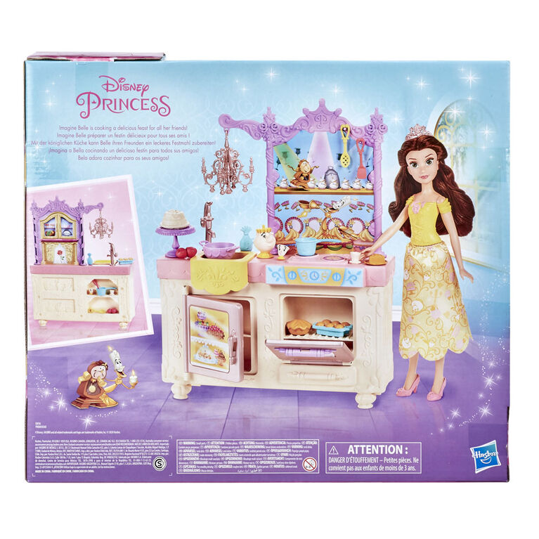 Disney Princess Belle's Royal Kitchen, Fashion Doll and Playset with 13 Accessories, Mrs. Potts, and Chip