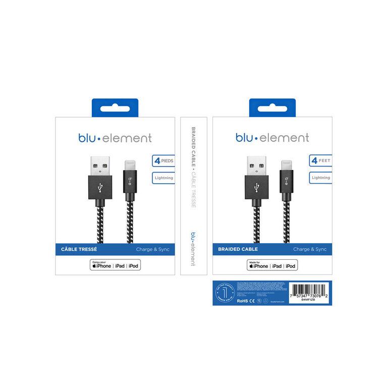 Blu Element  Câble Tressé de Charge/Sync Lightning vers USB 4ft Zébre