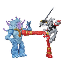 Power Rangers Dino Fury Battle Attackers - 2-Pack Red Ranger vs. Doomsnake Martial Arts Kicking Action Figure