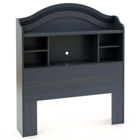 Summer Breeze Bookcase Headboard with Storage- Blueberry