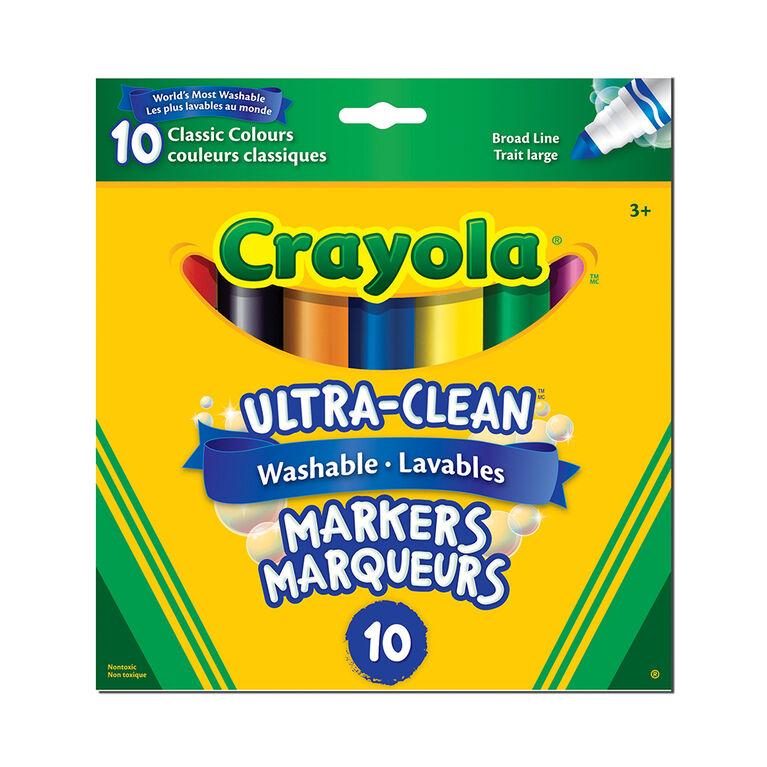 Crayola - 10 ct marqueurs à trait large lavables ultra-clean