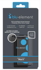Blu Element 3D Curved Glass Case Friendly for iPhone Xs / X Black (BTIPH8CE)