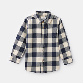 long sleeve plaid button up, size 4-5y - Blue